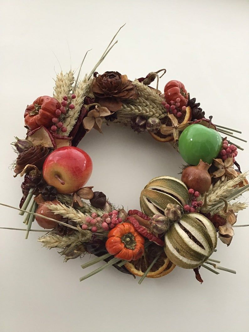 Rustic Garland Dried Flower Wreath Ideal Kitchen Wall Decoration Wall Hanging Cottage Homestyle Wreath Faux Preserved Wreath Home Decor Dried Flower Wreaths Kitchen Wall Decor Flower Wreath