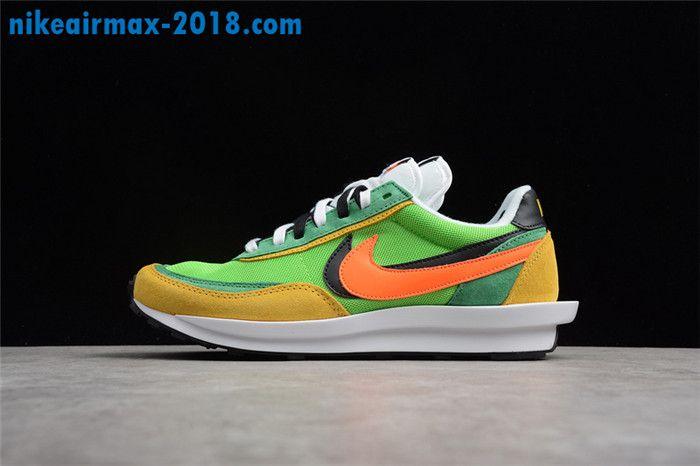 52ba22cd7c4e 2018 New Mens Sacai x Nike LDV Waffle Sneakers For Sale Yallow Green Orange  Nike Cortez
