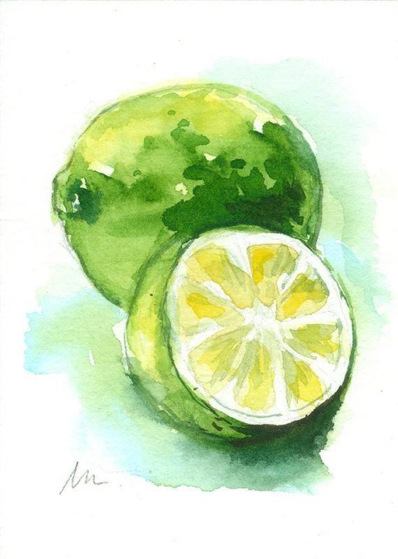 Photo of Lime Fruit Mini Painting Original ACEO Citrus Food Watercolor Small Mini Tiny Ki…