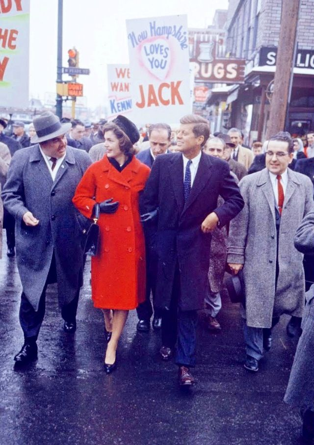 Jack and Jackie campaigning in New Hampshire, 1960.