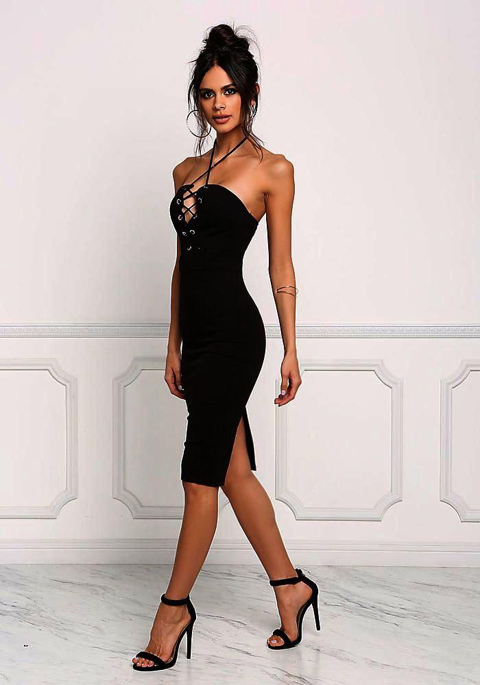 Noir Plunge Dress LacHalter Bodycon Dress Plunge Going Out Dresses ea2036