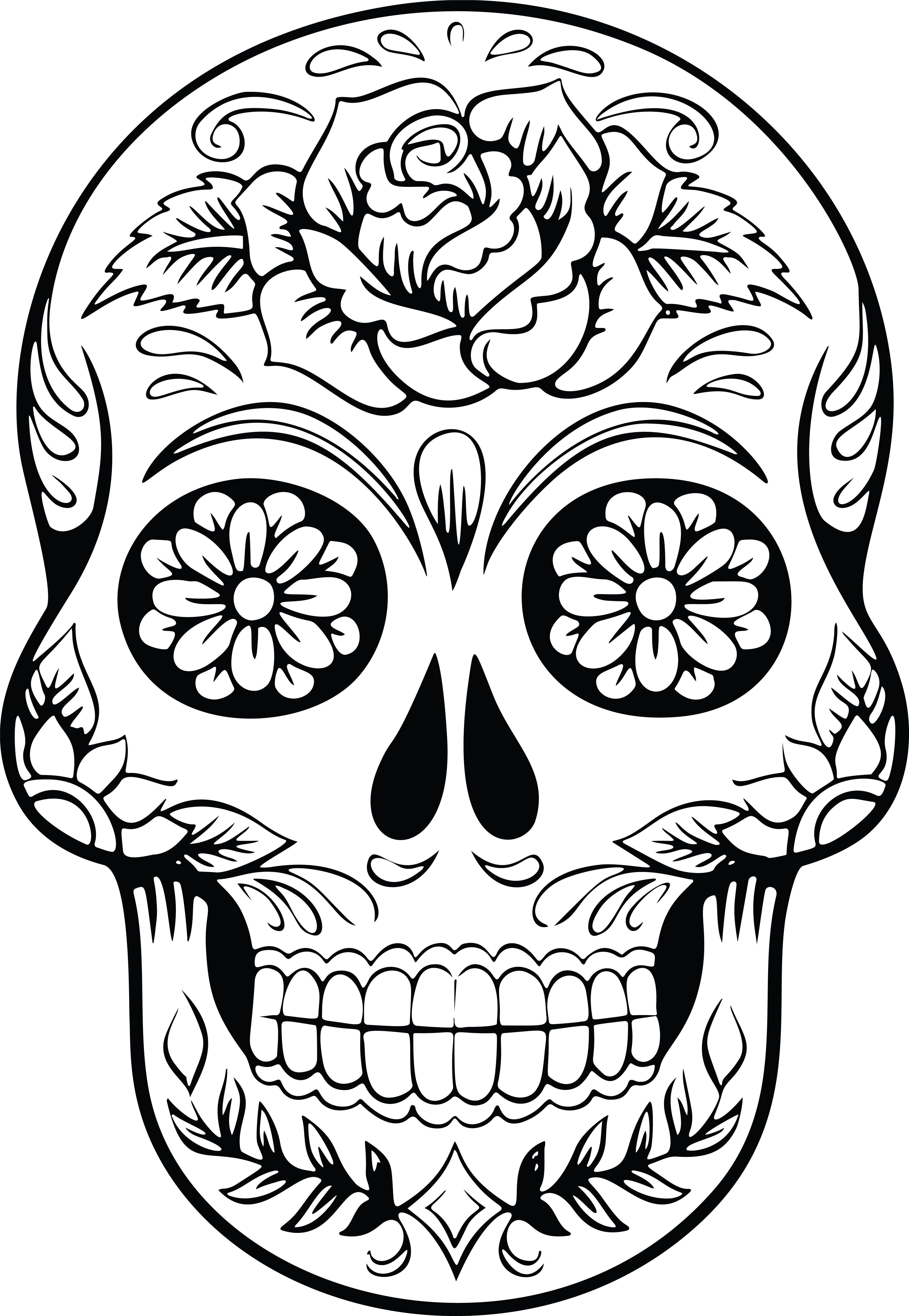 Free Clipart Of A Sugar Skull Skull Coloring Pages Sugar Skull Drawing Coloring Pages For Grown Ups
