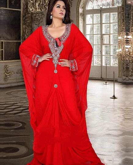 d18aa631bf719 Discount Muslim Abaya Kaftan Red Long Sleeve With Beaded Long Evening Gown  Arabic Abaya Chiffon Dress For Women From Trustful Online Seller  Easebuydress