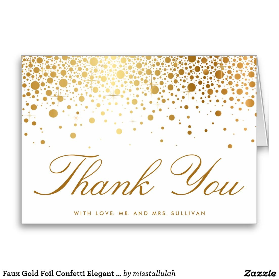 Faux gold foil confetti elegant thank you card greeting cards faux gold foil confetti elegant thank you card kristyandbryce Images