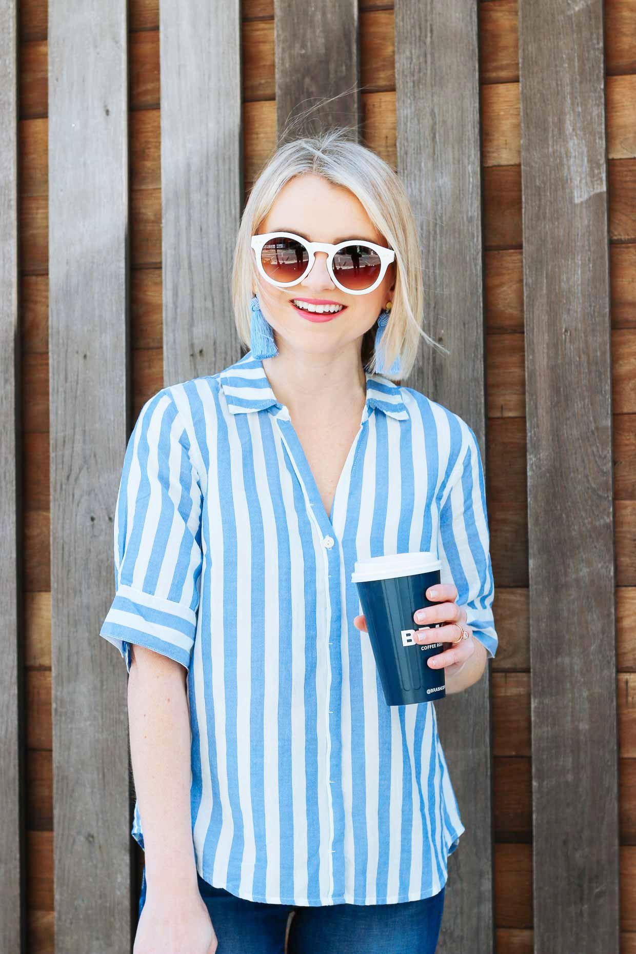 fa18cd040 J.Crew Blue Stripe Short Sleeve Button Up Shirt - Poor Little It Girl
