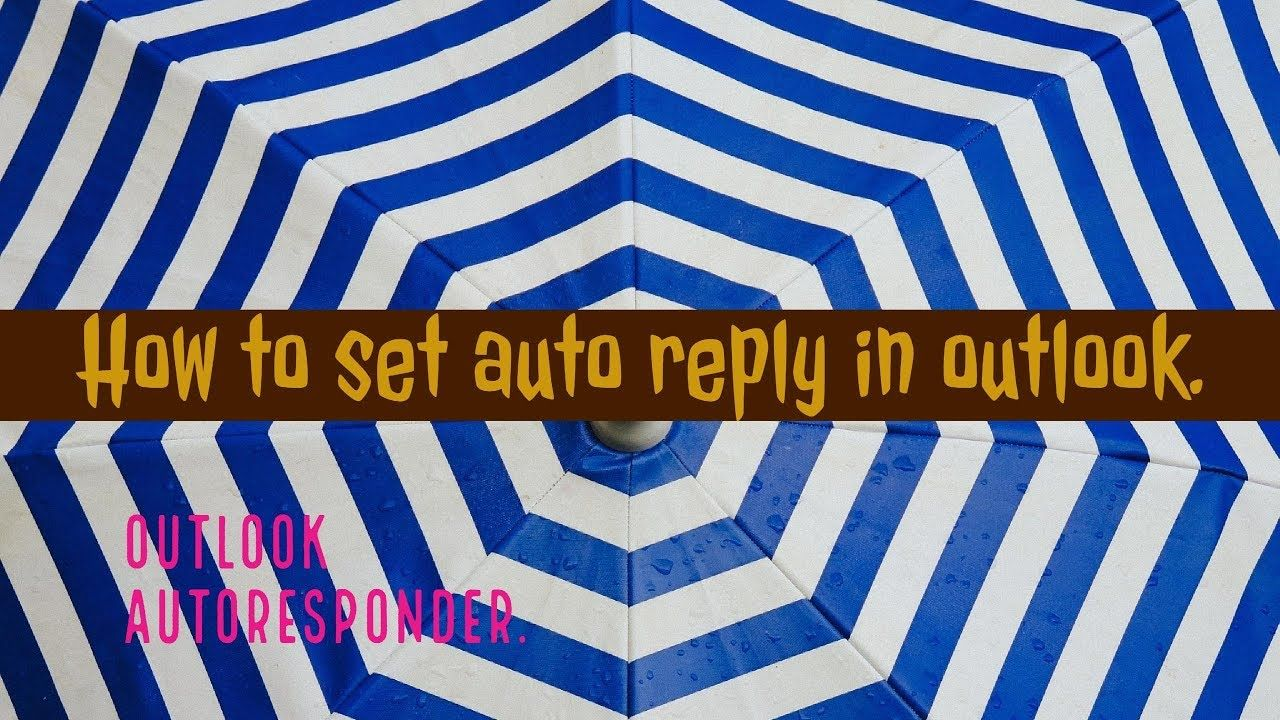 How to set auto reply in outlook. Outlook autoresponder