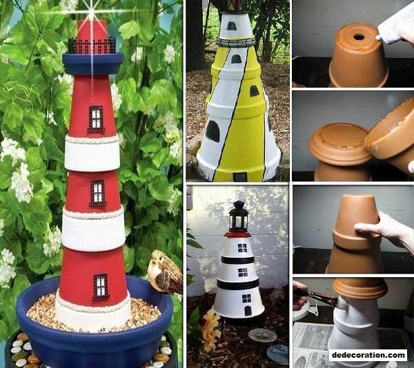 Clay Pot Lighthouse For Garden Decor   Http://www.dedecoration.com