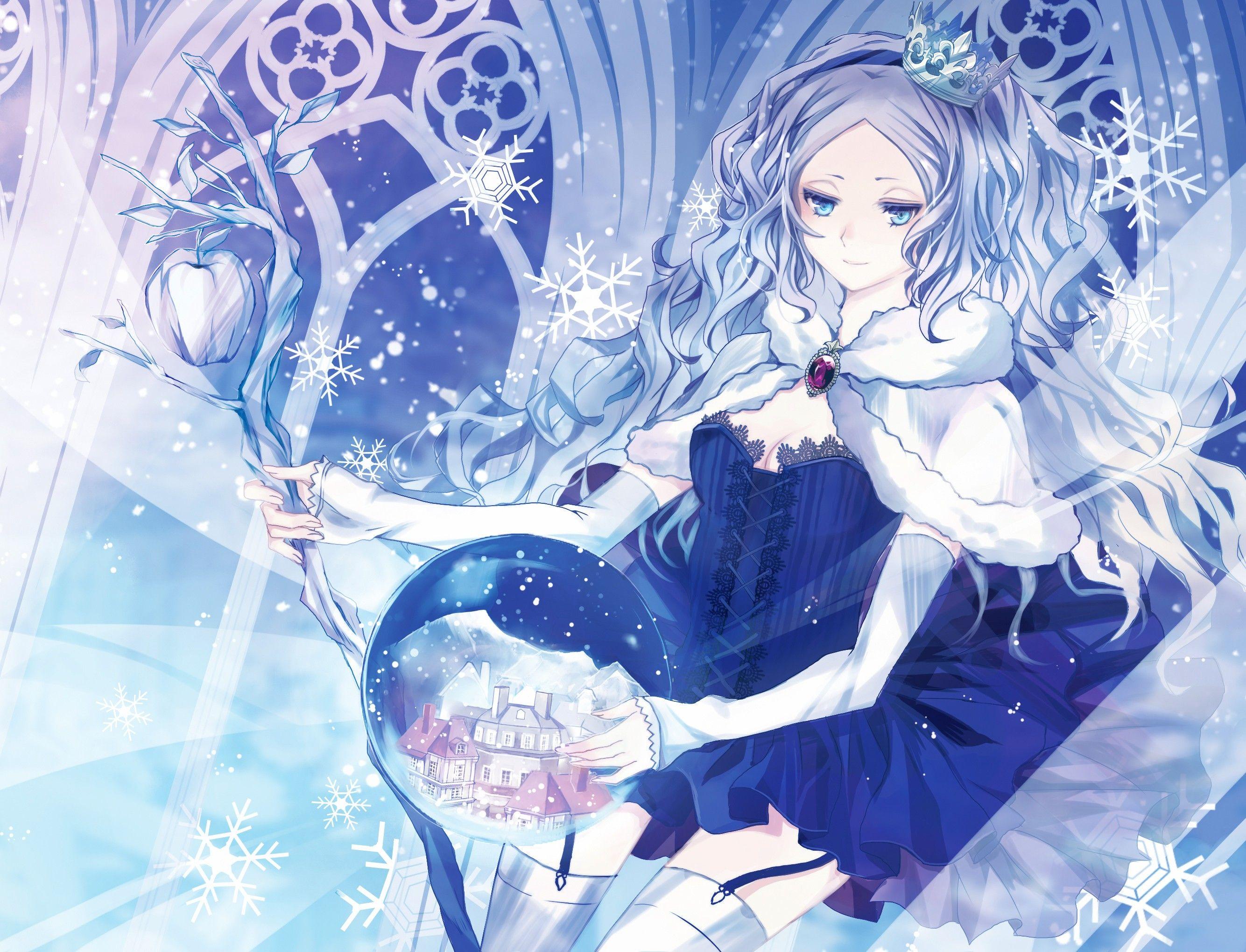 snow anime | ... Smiling Crowns Staff Anime Girls Snow ...