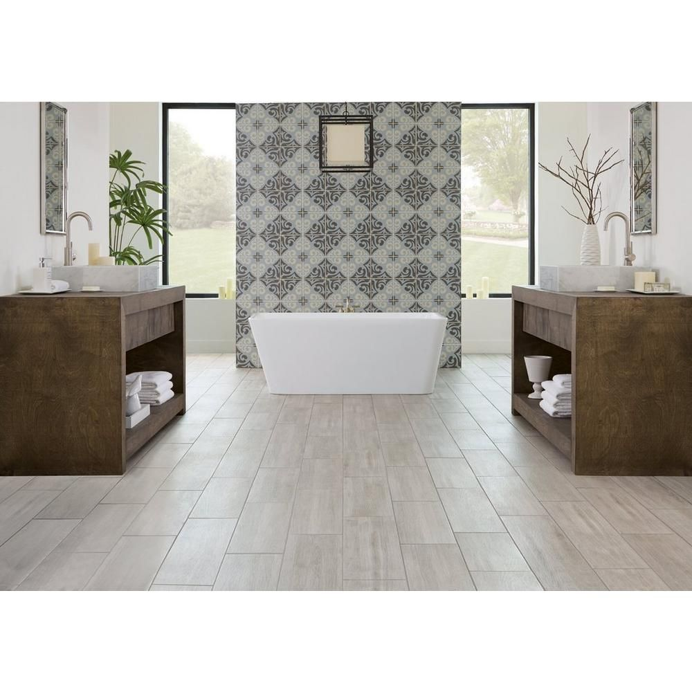 Ronne Gris Wood Plank Ceramic Tile Floor Decor Bathroom Decor Flooring