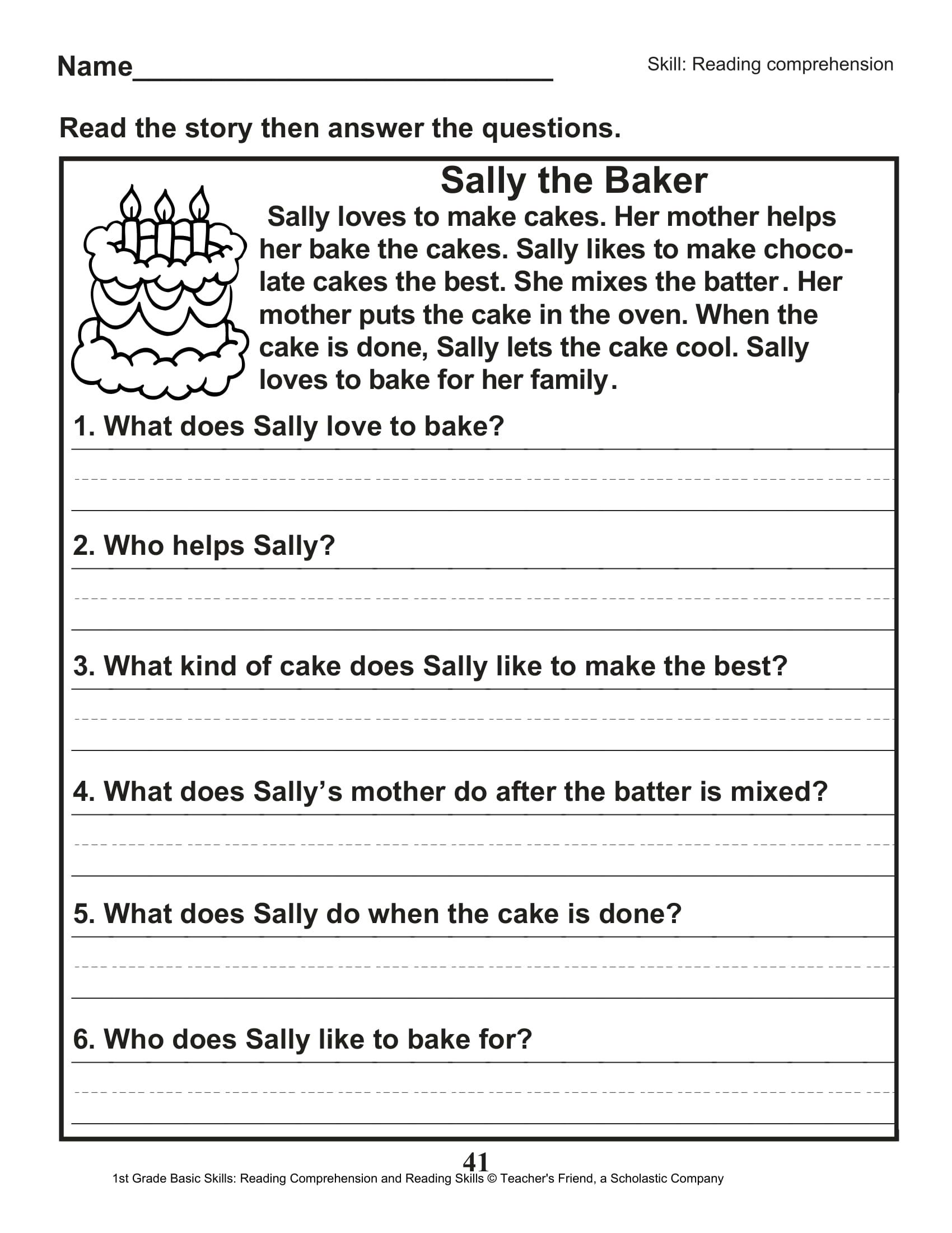 Free 1st Grade Reading Worksheets Pictures