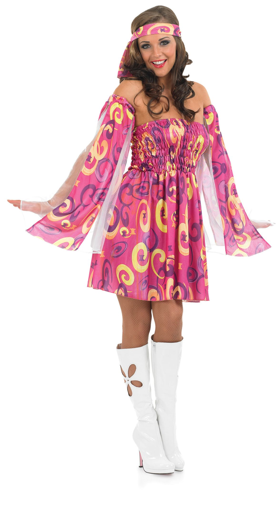 1960s Pink Swirl Hippy Fancy Dress Ladies 60s Hippie Costume Outfit ...