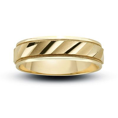 Men S 6 0mm Diagonal Flash Wedding Band In 14k Gold
