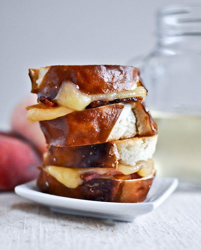 peach, bacon + gouda grilled cheese sliders on pretzel bread