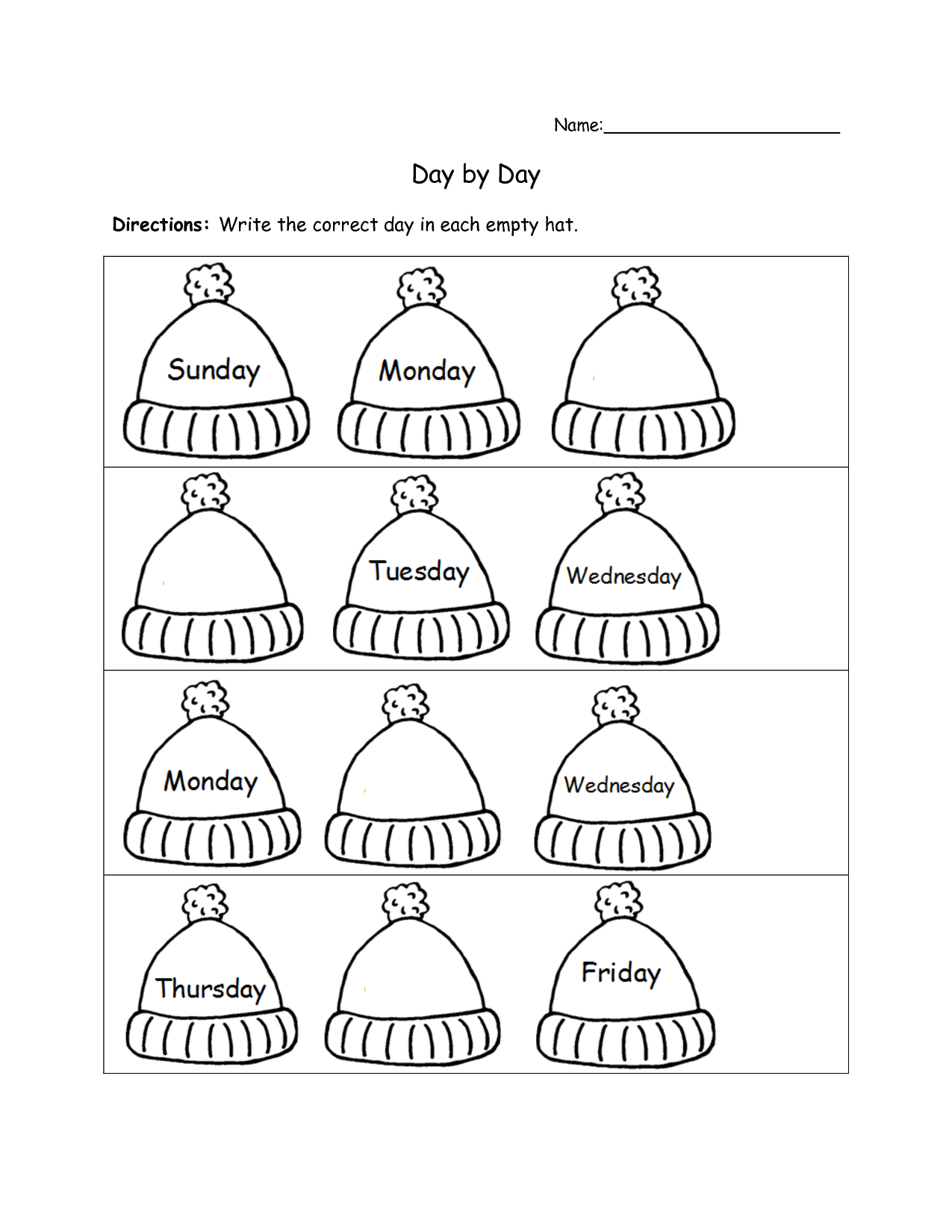 printable days of the week worksheets for kids – Days of the Week Kindergarten Worksheets