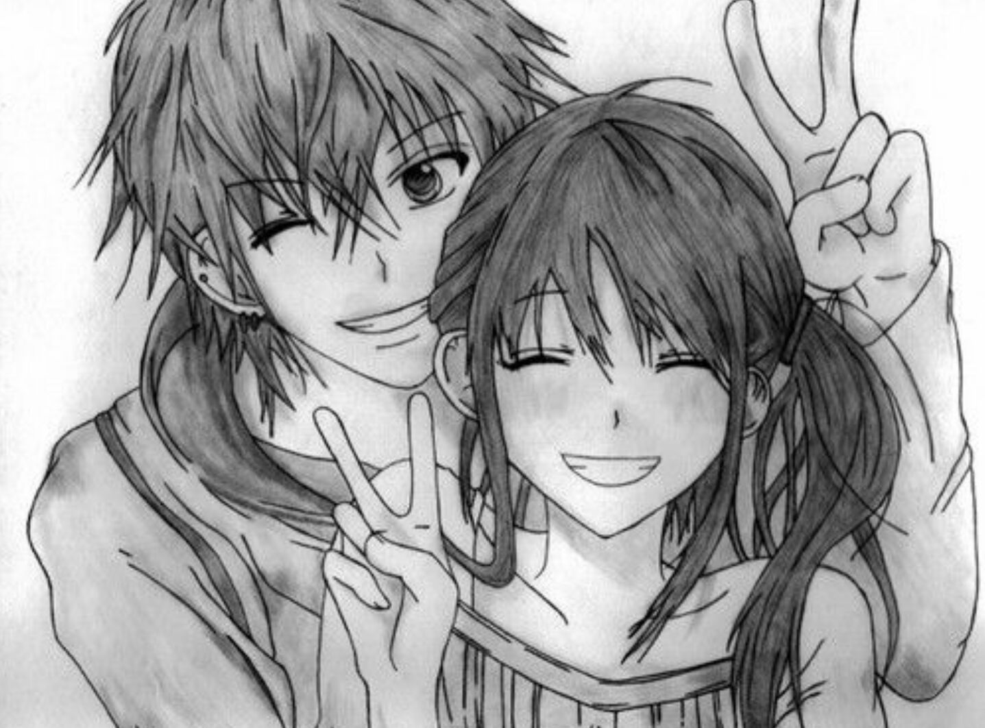 Afbeeldingsresultaat voor anime couple black and white
