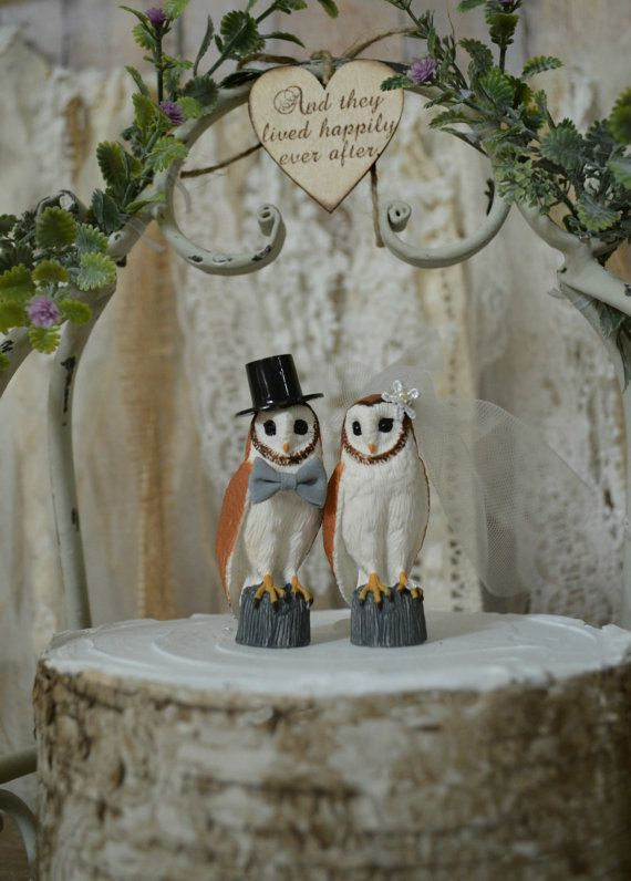 Owl Wedding Cake Topper Barn Bride And Groom Lover Country Animal Ivory Veil Happily Ever After Sign Rustic Fall Themed