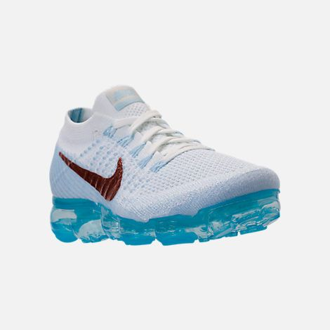 72f4d2fe4 Three Quarter view of Women s Nike Air VaporMax Flyknit Running Shoes in Summit  White Hydrogen