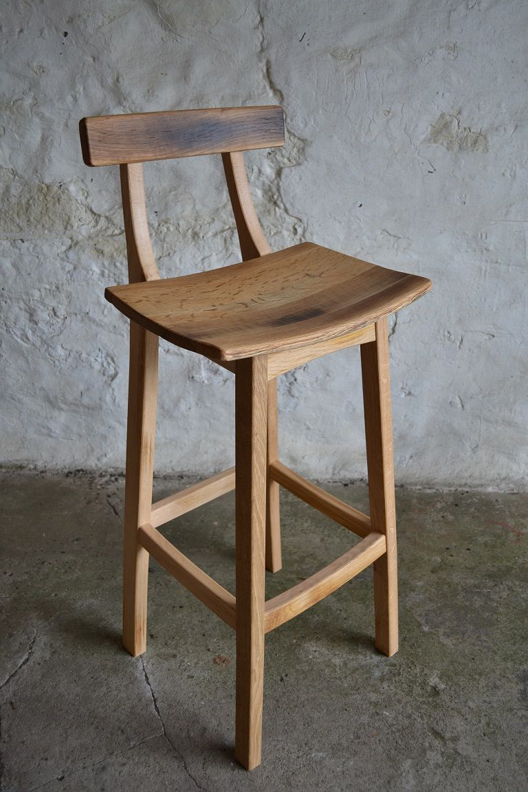 Oak Bar Stool With Whisky Barrel Seat And Back Moveis