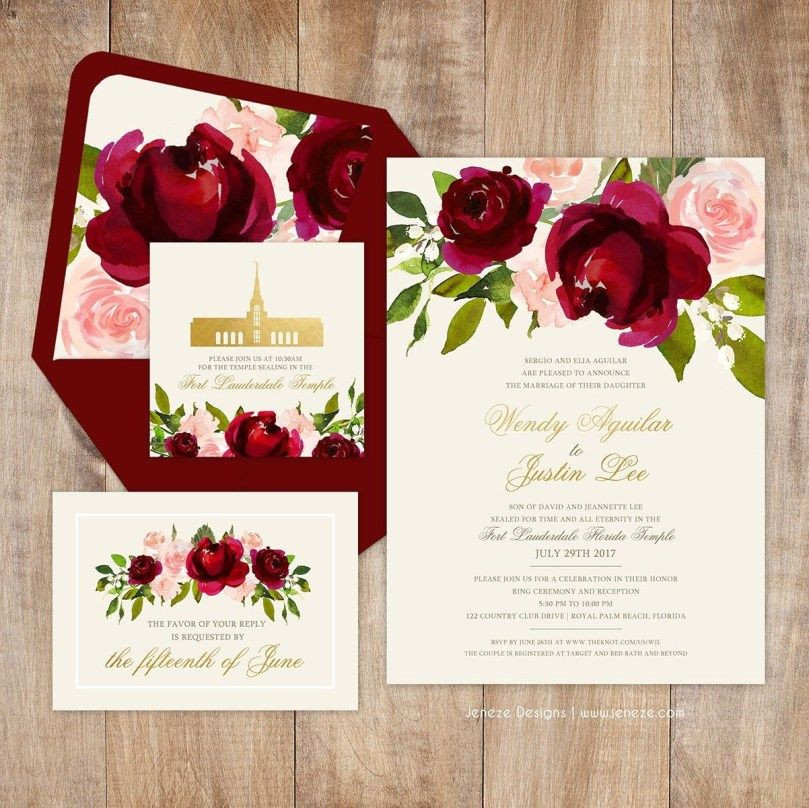 Red And Pink Wedding Invitations: 32+ Inspiration Image Of Red Rose Wedding Invitations