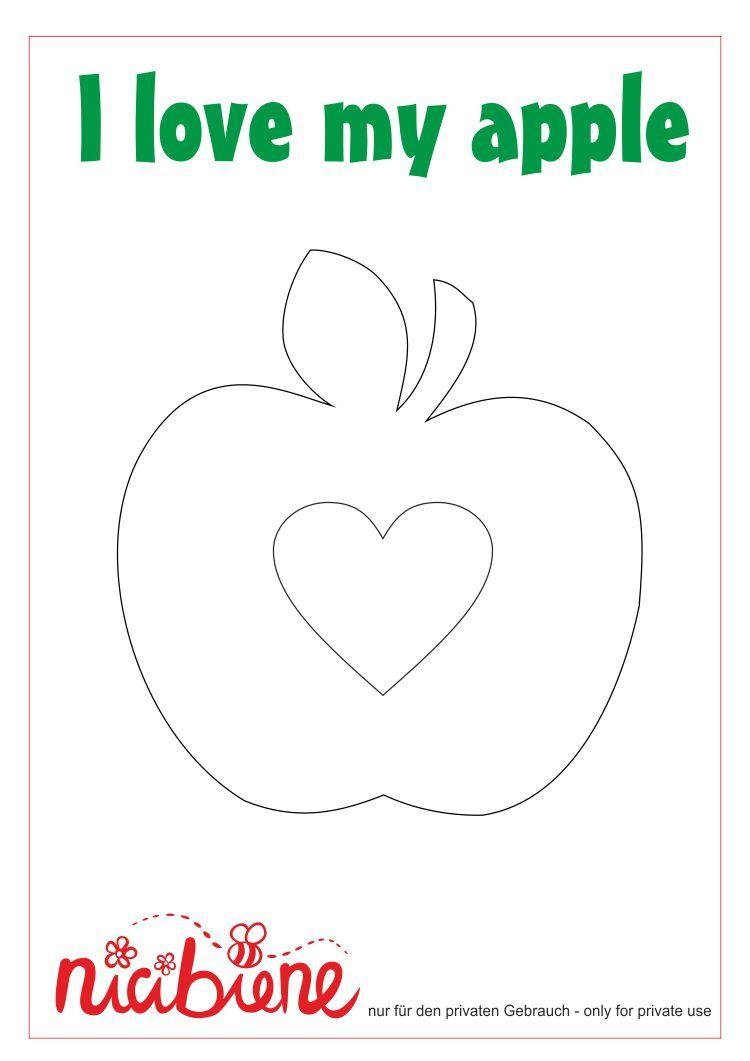 Applikationsvorlage Apfel Mit Herz Applikation Vorlagen