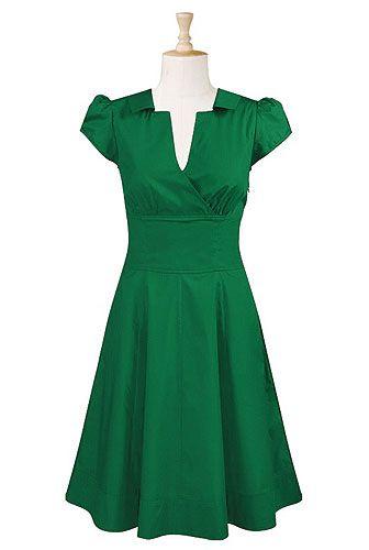 Surplice front poplin dress