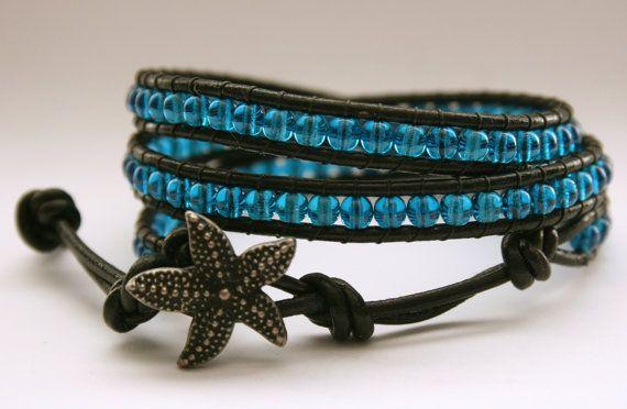 Capri Blue Czech Glass Triple Leather Wrap by SoulfulBracelets, $35.00