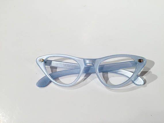 2d0bfa77c39 Vintage 60s Blue Cat Eye Eyeglasses