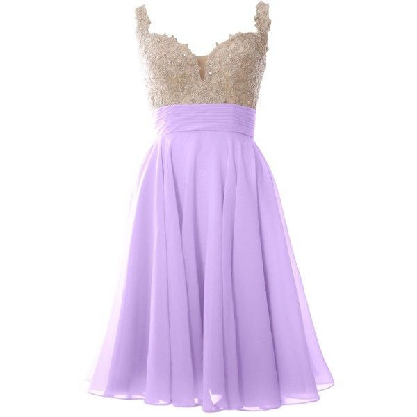 MACloth Women Strap Lace Chiffon Short Ball Gown Prom Wedding Party... (£89) ❤ liked on Polyvore featuring dresses, short prom dresses, short party dresses, formal dresses, lace cocktail dress and light purple dress