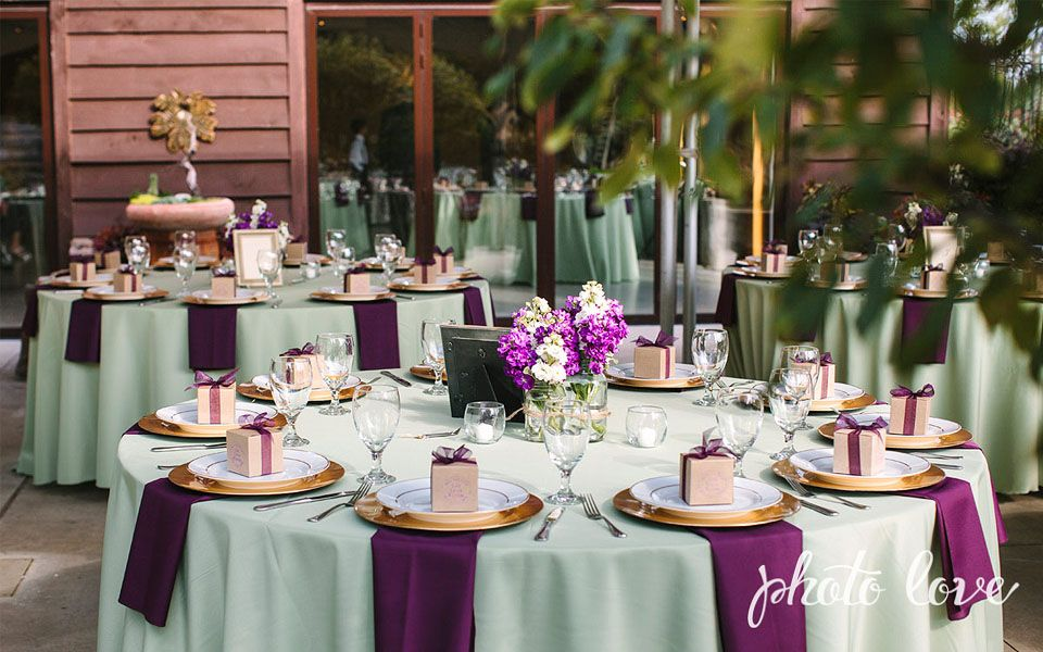 Plum and sage wedding colors wedding reception table set for Wedding table favours