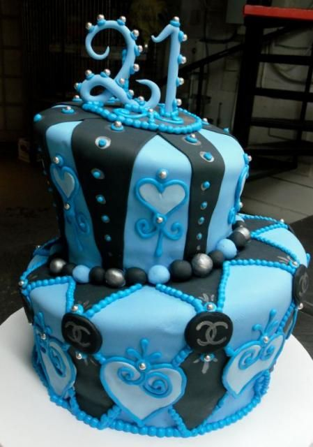 Happy St Birthday Cakes Google Search Two Layers Looks Good - Blue cake birthday