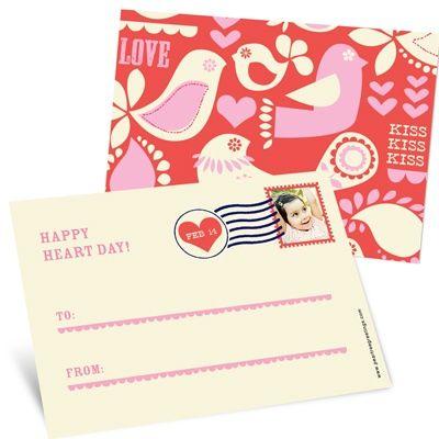 Kids Vintage Valentine Postcards -- Kissed Photo Stamp