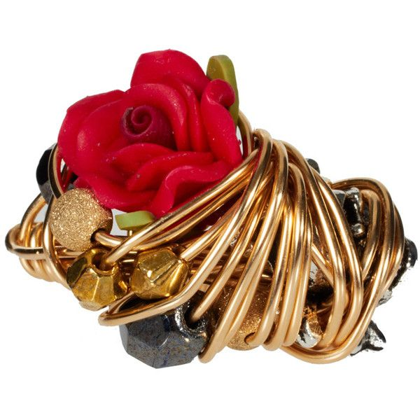 Kat Zerlina 14ct Gold Skull & Rose Ring ($195) ❤ liked on Polyvore