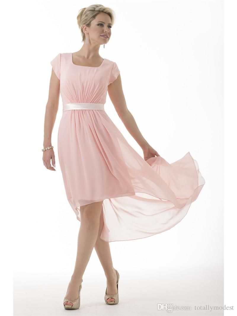 Pink hi lo modest bridesmaid dresses long with short sleeves