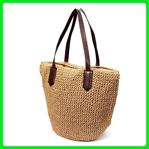 5597f7186f96 OURBAG Summer Straw Beach Bag Handbags Shoulder Bag Tote Brown Medium -  Totes ( Amazon