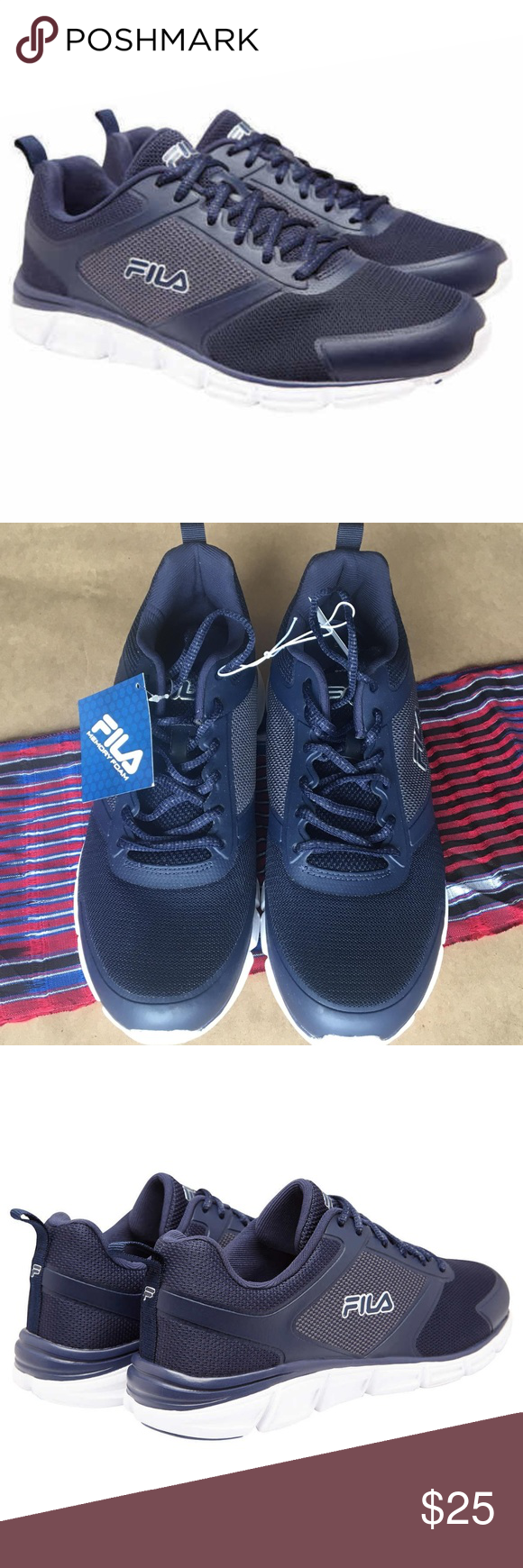 bb50d8ca3ad8 Fila Men s Memory Steelsprint Athletic Shoes Navy Move and flex freely with  these men s FILA Memory