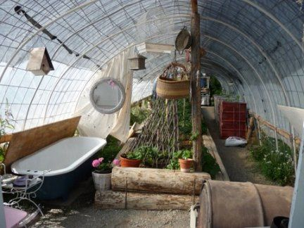 Amazing Off The Grid Greenhouse | Schebenu0027s Homemade Greenhouse With Bathtub For  Summer Bathing