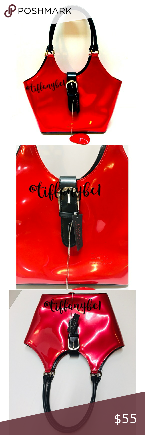 🆕 Beijo Pearlescent Red Patent Leather Satchel