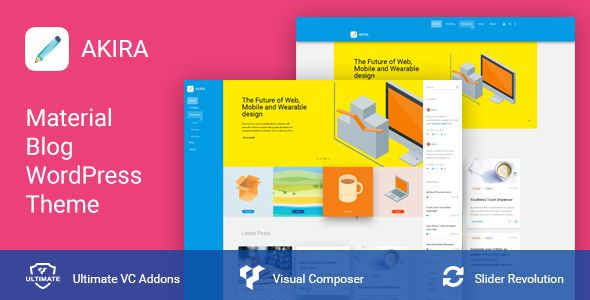 Akira - Material Design Blog WordPress Theme   WordPress Themes ...
