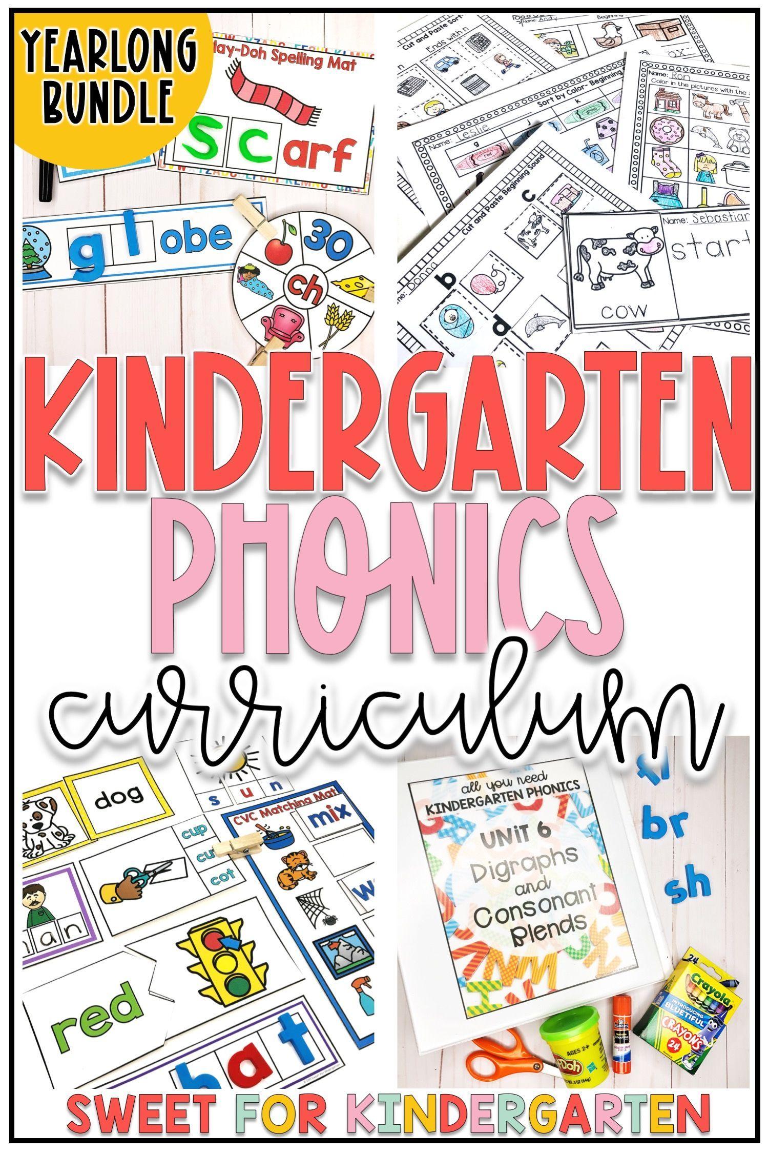 Kindergarten Phonics Curriculum Yearlong Bundle In