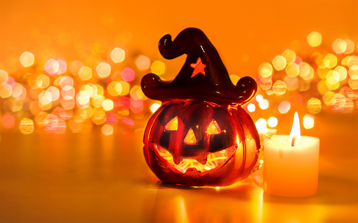 Download wallpapers 4k, Happy Halloween, candle, night