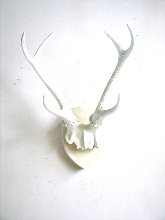 Faux Antlers Plaque Wall Hanging Rustic Modern Mount Decor In White With 68