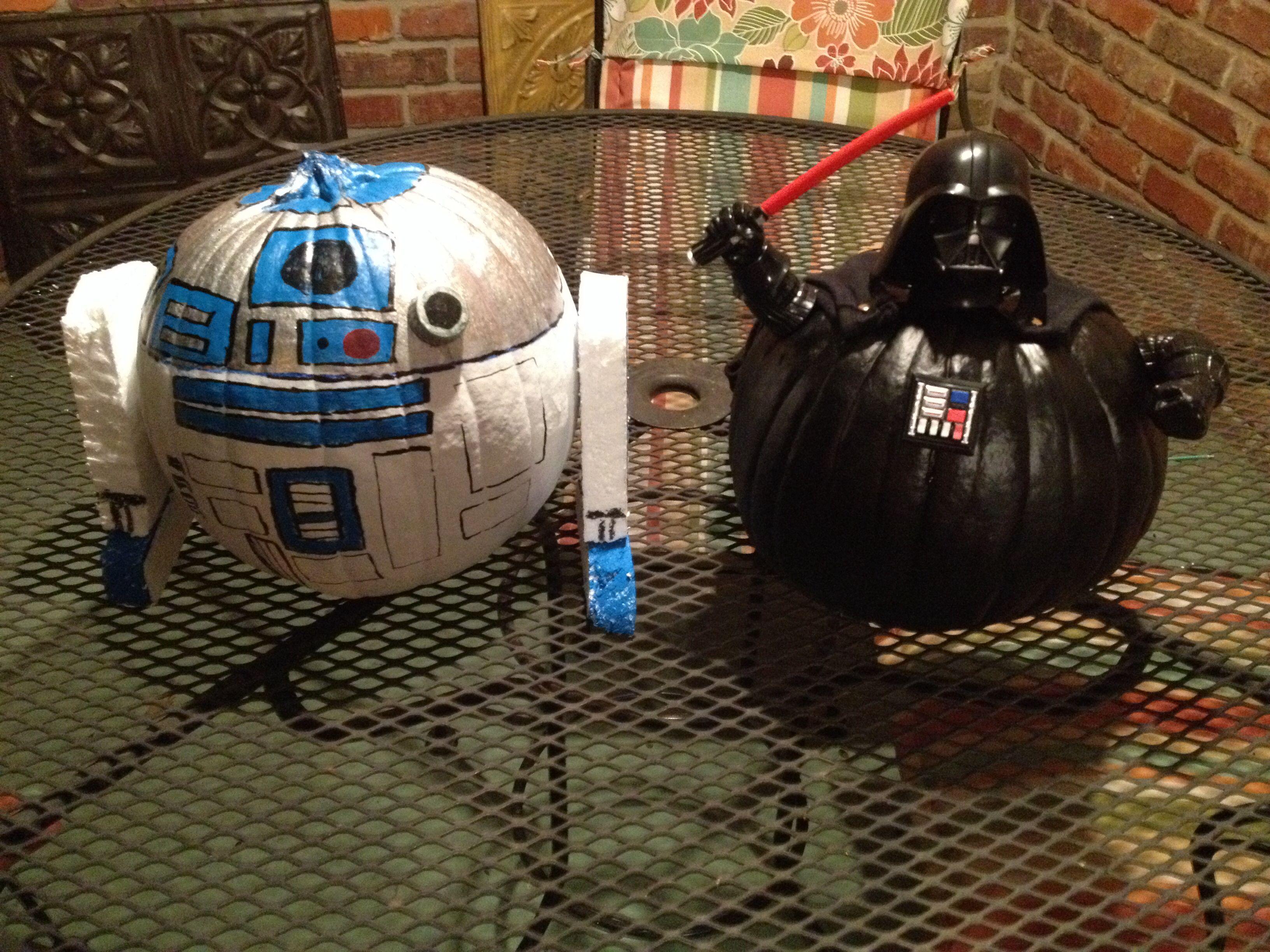 r2d2 and darth vader pumpkins halloween stuff halloween decorations halloween pumpkins. Black Bedroom Furniture Sets. Home Design Ideas