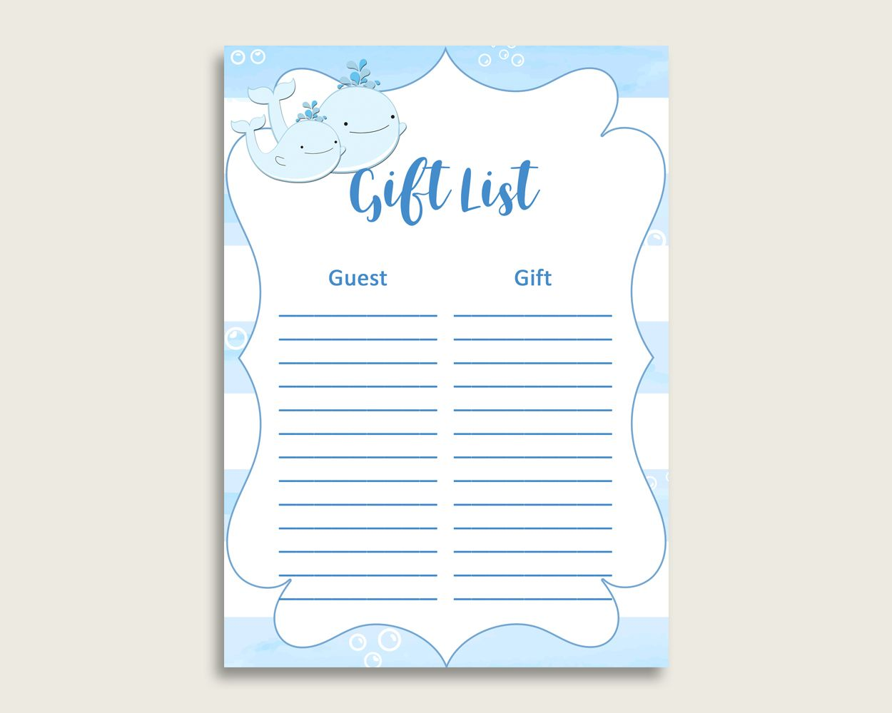 Whale Baby Shower Gift List Blue White Gift List Printable Boy Baby Shower Gift Checklist Baby Shower Gift List Baby Shower Gifts For Boys Whales Baby Shower Baby shower gift list template