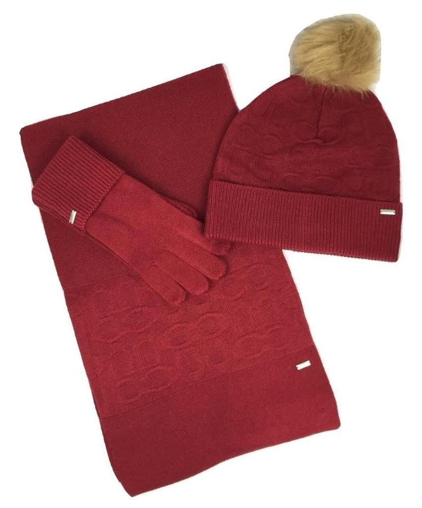 23e918299ae Coach Women s Soft Bright Red Embossed Knit Scarf Hat Tech Gloves Set  F32711  Coach  ScarfSet