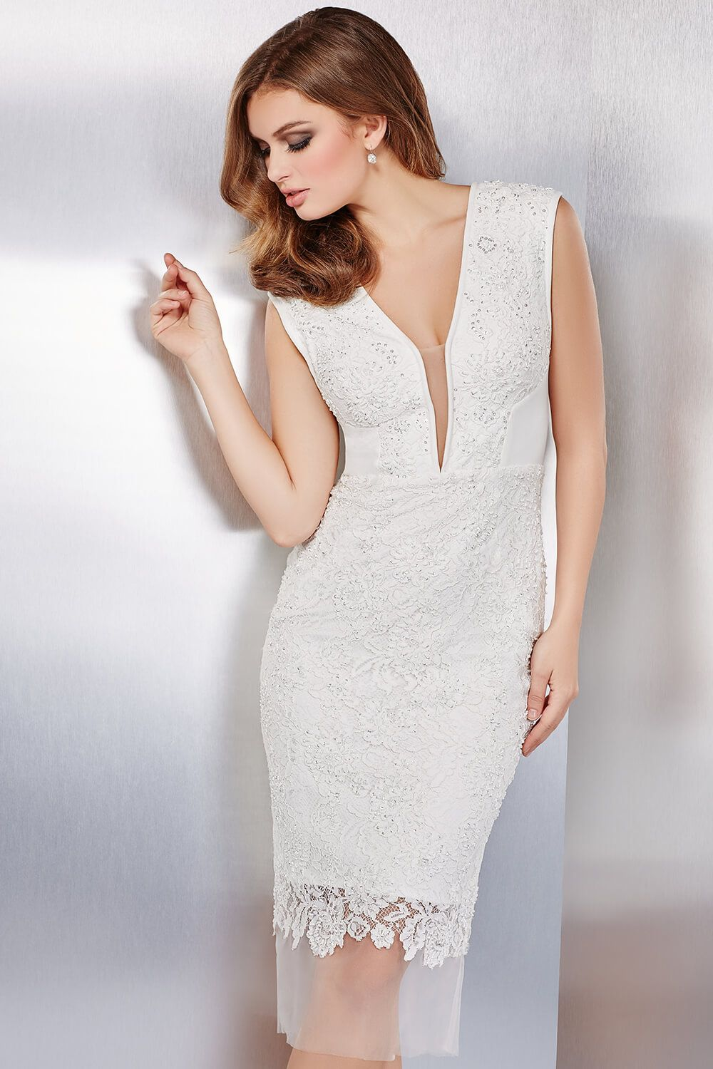 You will be angel material in this #jovani 37510 tea length beaded lace dress.