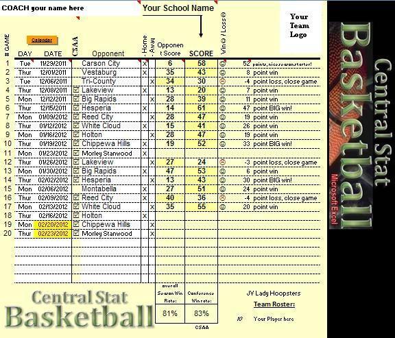 CENTRAL STAT Basketball stat Program excel spreadsheet