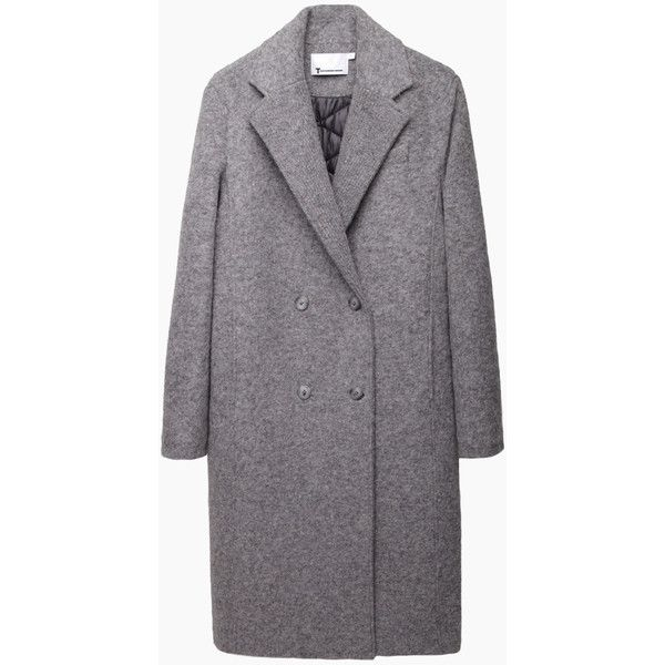 T by Alexander Wang Reversible Nylon Felt Coat ($430) ❤ liked on Polyvore featuring outerwear, coats, jackets, coats & jackets, clothes - outerwear, long lightweight coat, double breasted long coat, felt coat, long sleeve coat and long coat