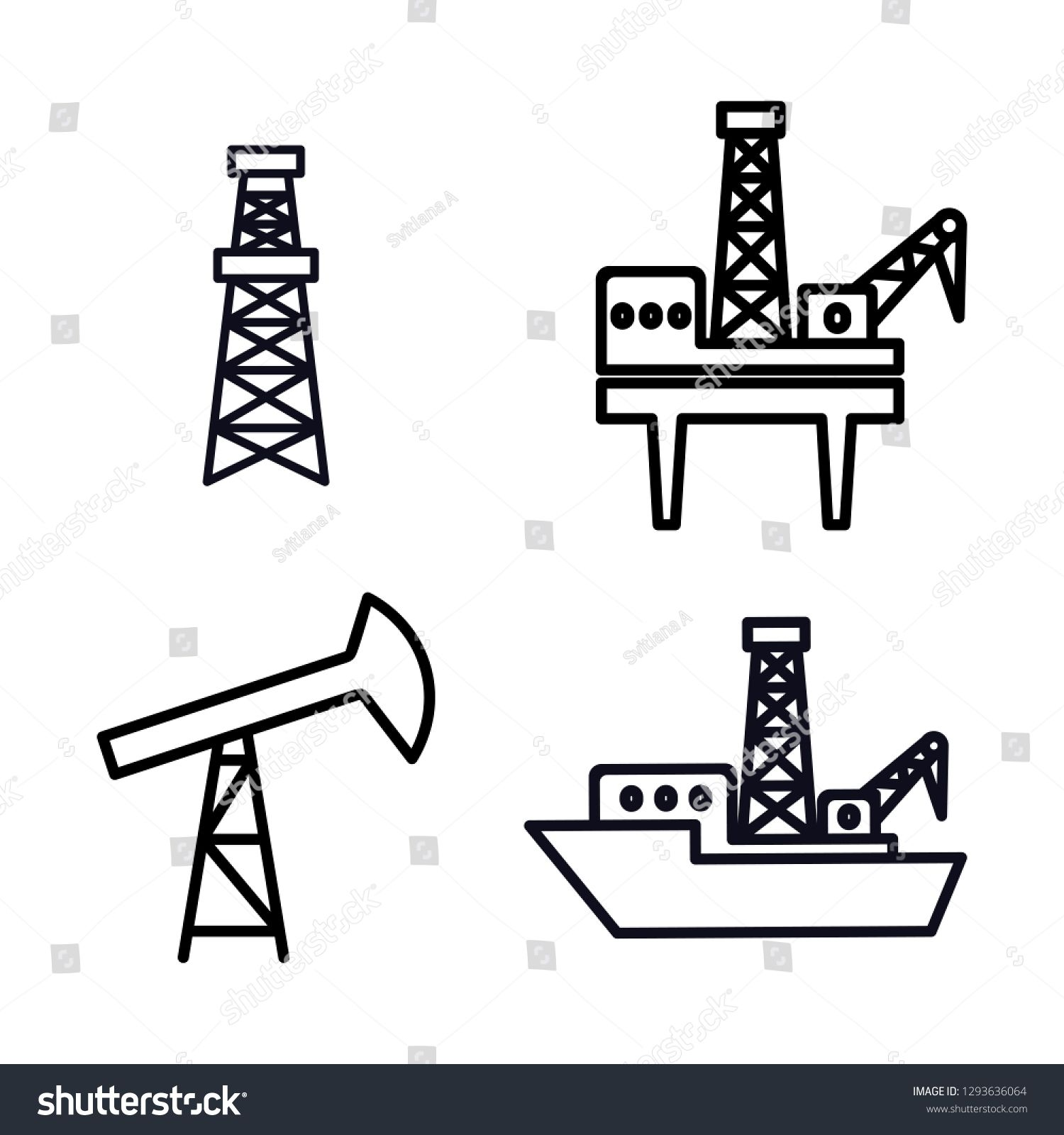 Set Of Vector Black Outline Offshore And Onshore Drilling Icons Isolated For Oil And Gas Industry Drilling Rig Drilling Pla Gas Industry Oil And Gas Offshore