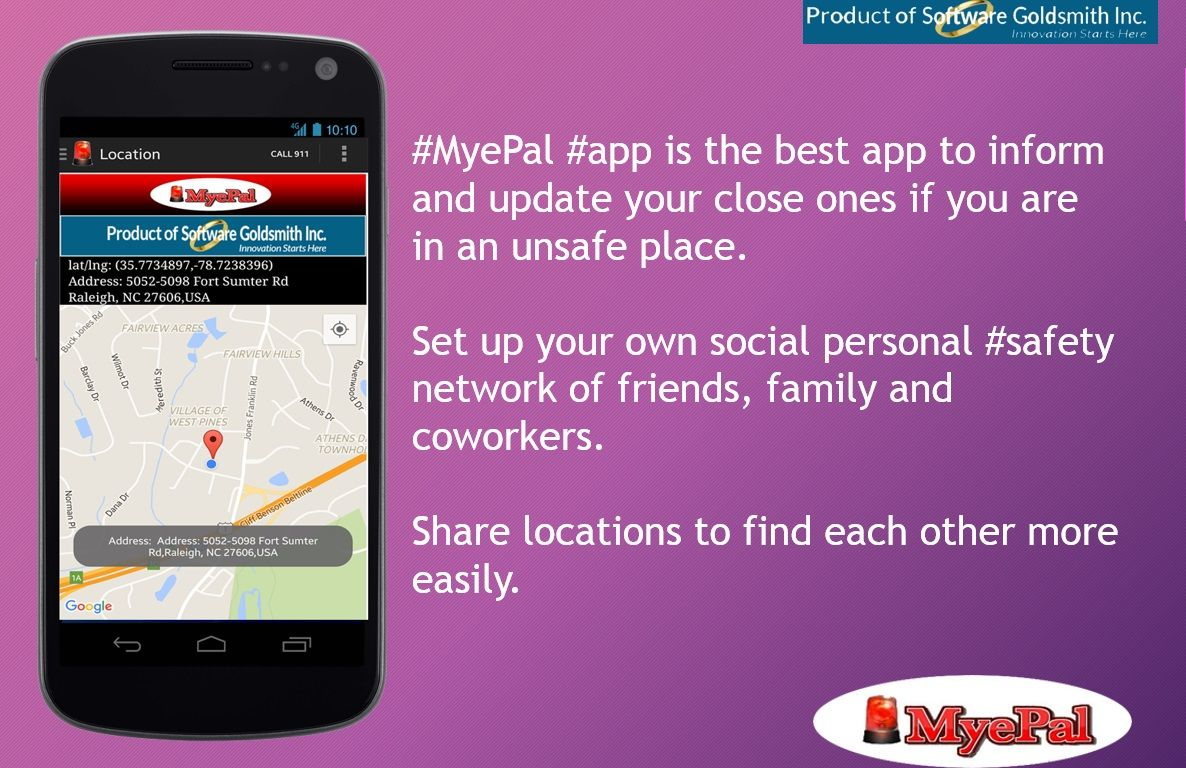 MyePal app is the best SafetyApp to inform and update your close ones if you are in an unsafe place. Set up your own social personal safety network of friends, family and coworkers and share locations to find each other more easily. Try today! Click here: Pro Version https://goo.gl/Nq2c2y Trial version https://goo.gl/D8Ft58