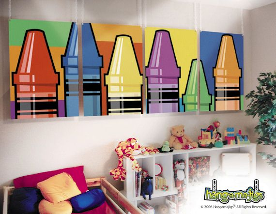 Cute Playroom Art Hangamajigs Crayons   Wall Sticker Outlet
